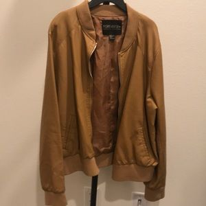 Tan Faux Leather Bomber Jacket